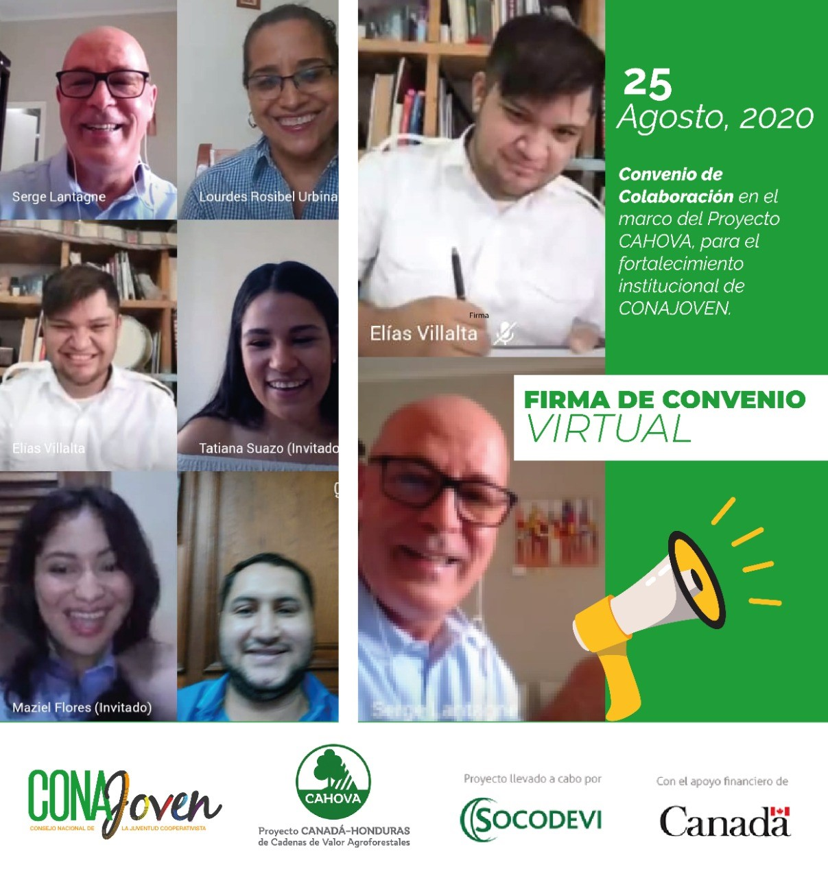 Firma Convenio Virtual de Colaboración entre SOCODEVI-CAHOVA y CONAJOVEN
